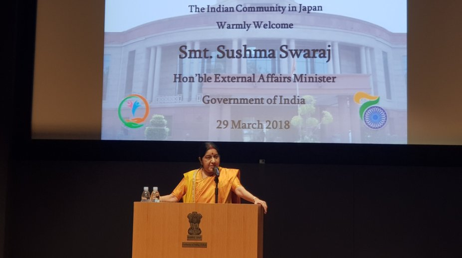 Swaraj arrives in Japan for strategic dialogue
