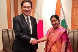 Sushma Swaraj meets former Japanese Foreign Minister
