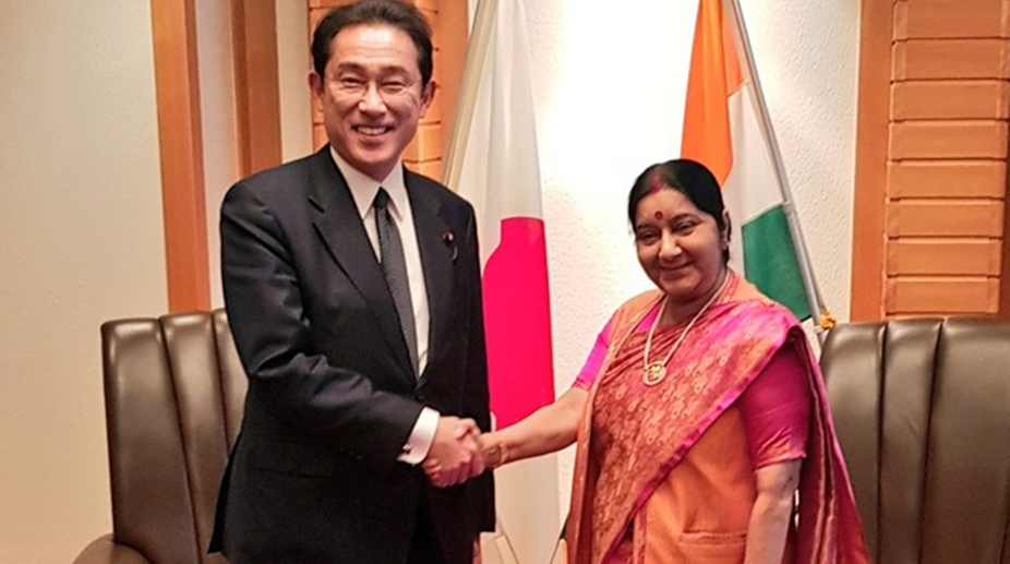 Sushma Swaraj, Japanese foreign minister Taro Kono discuss bilateral ties