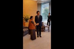 Sushma Swaraj calls on Japanese PM Shinzo Abe
