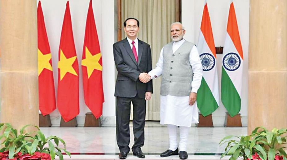 Indian PM Narendra Modi and President of Vietnam Tran Dai Quang. (Photo: SNS)