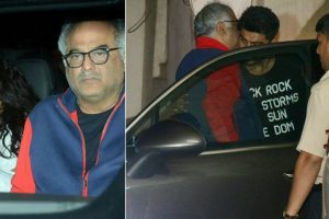 Photos: Boney Kapoor visits son Arjun with daughters Janhvi, Khushi