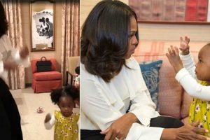 Girl in viral photo shakes leg with Michelle Obama