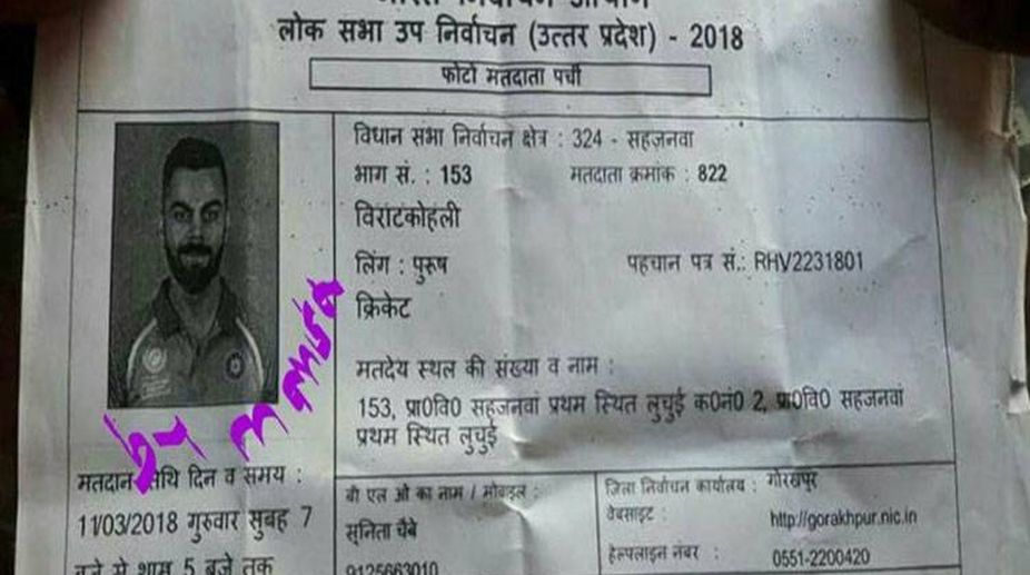 Virat Kohli's name appears in voter's slip in Gorakhpur; inquiry ordered