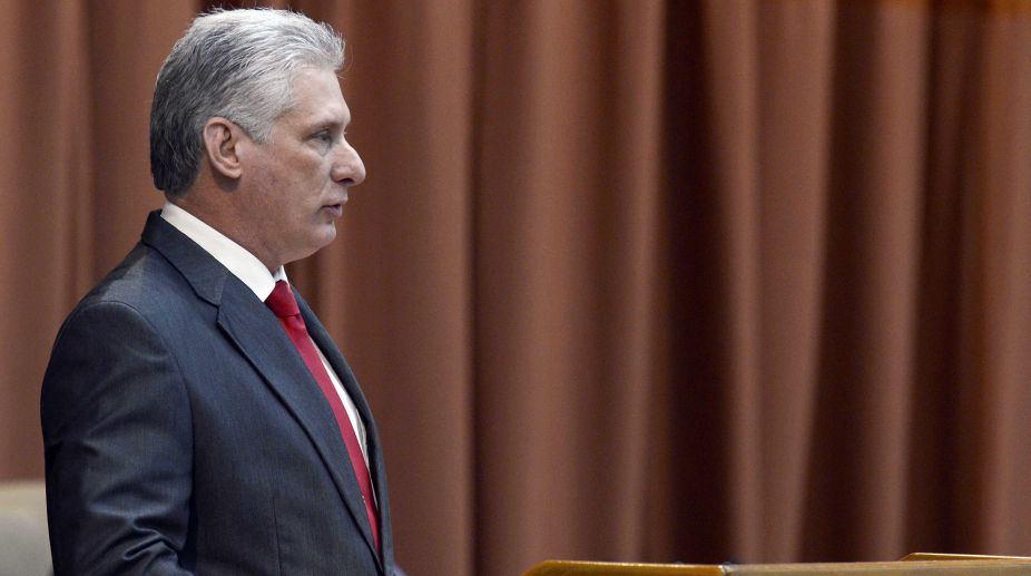 The newly elected President of the Council of State of Cuba, Miguel Diaz-Canel, delivers a speech after the announcement of his election during a session of Cuba's National Assembly of People's Power, in Havana, capital of Cuba, on April 19, 2018. Miguel Diaz-Canel was elected on Thursday as the new Cuban president, as the successor of the Army General Raul Castro, who concluded two consecutive five-year terms in office. (Xinhua/Jaoquin Hernandez)