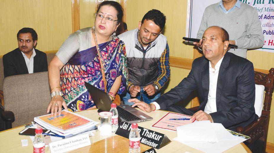 Chief Minister Jai Ram Thakur launching various digital initiatives ?undertaken by Himachal Pradesh Institute of Public Administration (HIPA). (Photo: SNS)