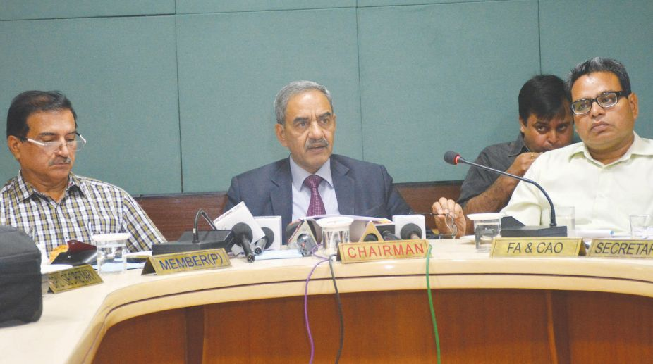Bhakra Beas Management Board chairman addressing a Press conference in Chandigarh on Friday. (Photo: Pardeep Saini)