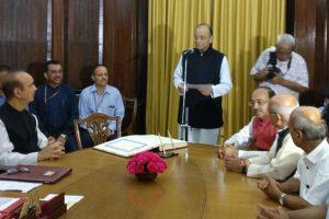 Arun Jaitley takes oath as Rajya Sabha member for new term