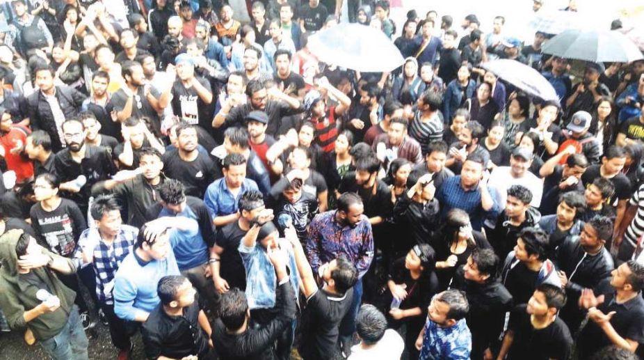 Sikkim University students protest rally in Gangtok