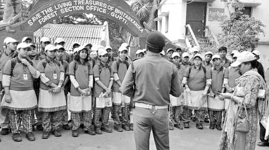 School students attend awareness programme in Bhitarkanika.