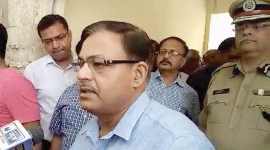 Madhya Pradesh Chief Secretary Basant Pratap Singh addresses the reporters during Gwalior visit along with DGP Rishi Shukla on Saturday.