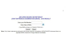 JEE Main Results 2018 for Paper I declared at cbseresults.nic.in, results.nic.in | Check now