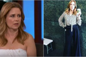 Watch: 'The Office' star Jenna Fischer donned a towel at Jimmy Kimmel's show after malfunction