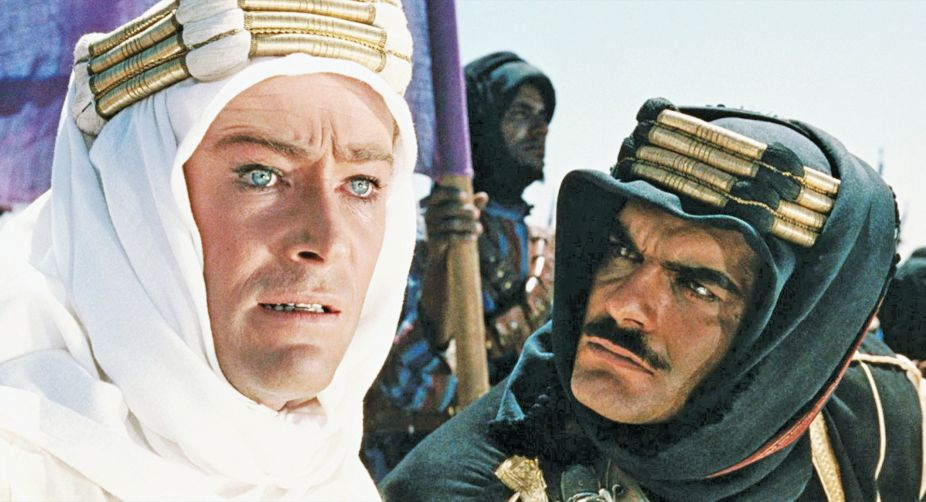 Omar Sharif (R) with Peter O'Toole in Lawrence of Arabia.