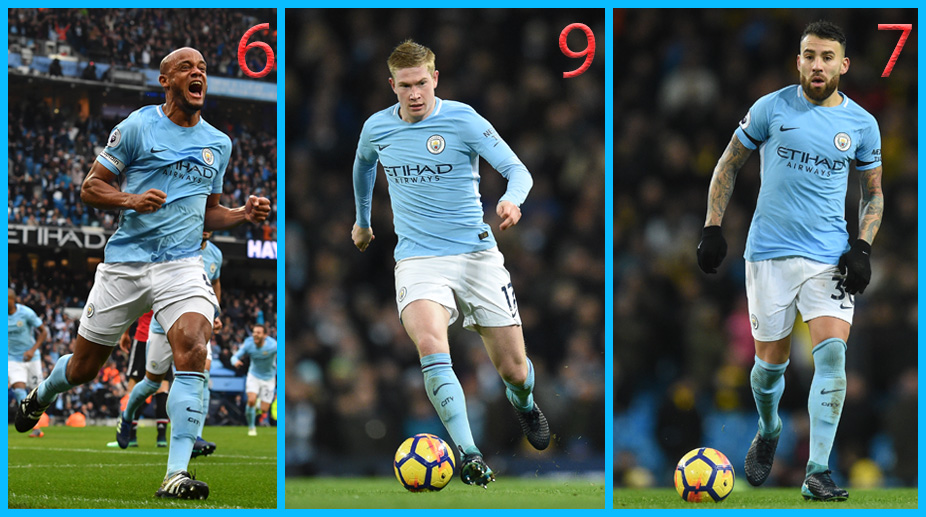 Manchester City F.C., Premier League, Kevin De Bruyne, Vincent Kompany, Nicolas Otamendi