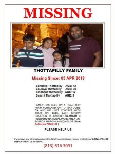 Thottapilly family missing in US