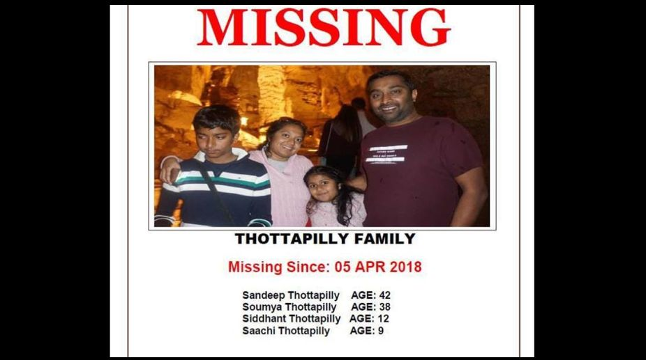Sandeep Thottapilly missing Indian family