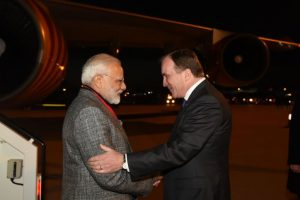 Swedish Prime Minister welcomes PM Narendra Modi at airport in Stockholm