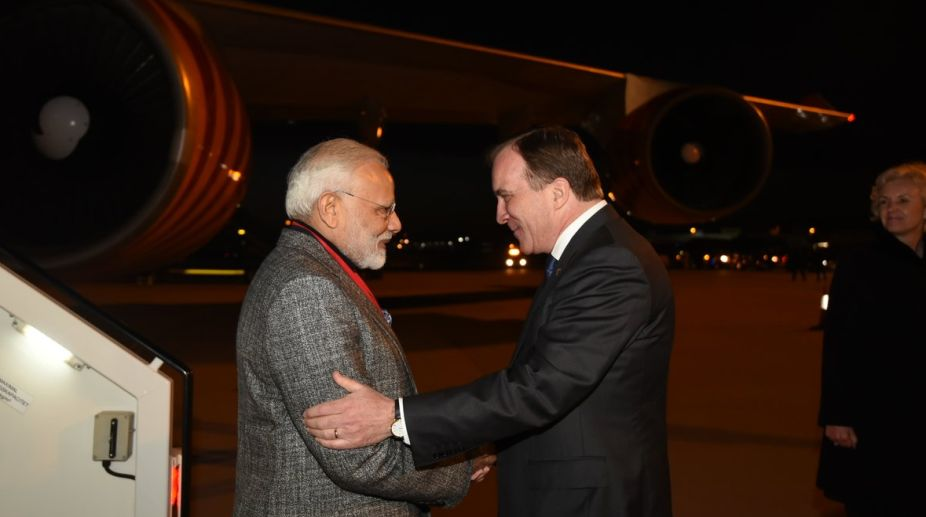 PM Narendra Modi welcomed by Swedish Prime Minister at airport
