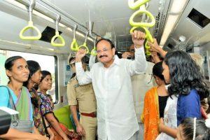 Vice President Naidu rides on Kochi Metro, interacts with passengers