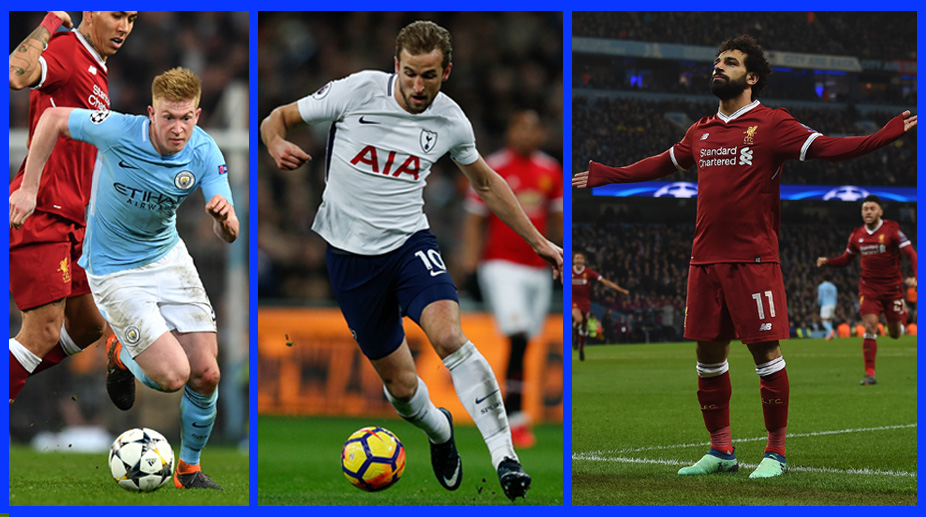 Kevin De Bruyne, Harry Kane, Mohamed Salah, Liverpool F.C., Premier League, Manchester City F.C., PFA Player of the Year,