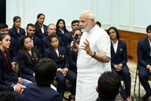 PM Modi interacts with Commonwealth Games medal winners