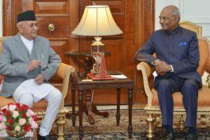 President Kovind meets Nepal Prime Minister Oli at Rashtrapati Bhavan