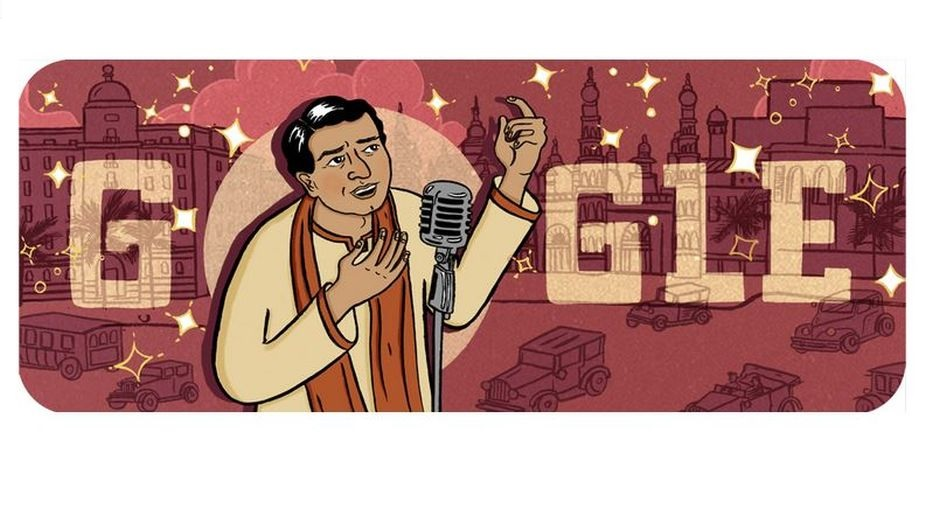 A Google doodle on KL Saigal on his 114th birth anniversary