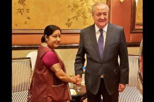 Sushma Swaraj meets Kyrgyz, Uzbek counterparts in China