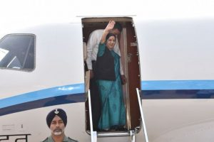 Sushma Swaraj reaches Beijing, to hold talks with Wang Yi
