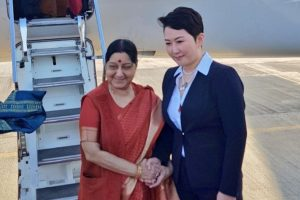 Sushma Swaraj reaches Mongolia for two-day visit