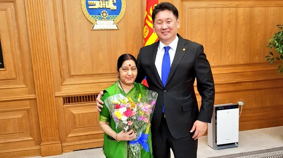 Sushma Swaraj, External Affairs Minister, Mongolia, Indian foreign minister, Mongolian PM, U Khurelsukh
