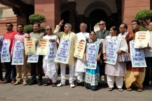 Trinamool leaders stage protest against Air India sale in Parliament