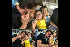 IPL 2018| Pics inside: When Shah Rukh Khan met MS Dhoni's daughter Ziva