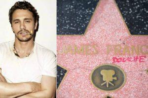 James Franco's star on Hollywood Walk of Fame vandalised
