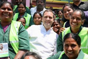 Rahul Gandhi meets sanitation workers, pays homage to Ambedkar in Bengaluru