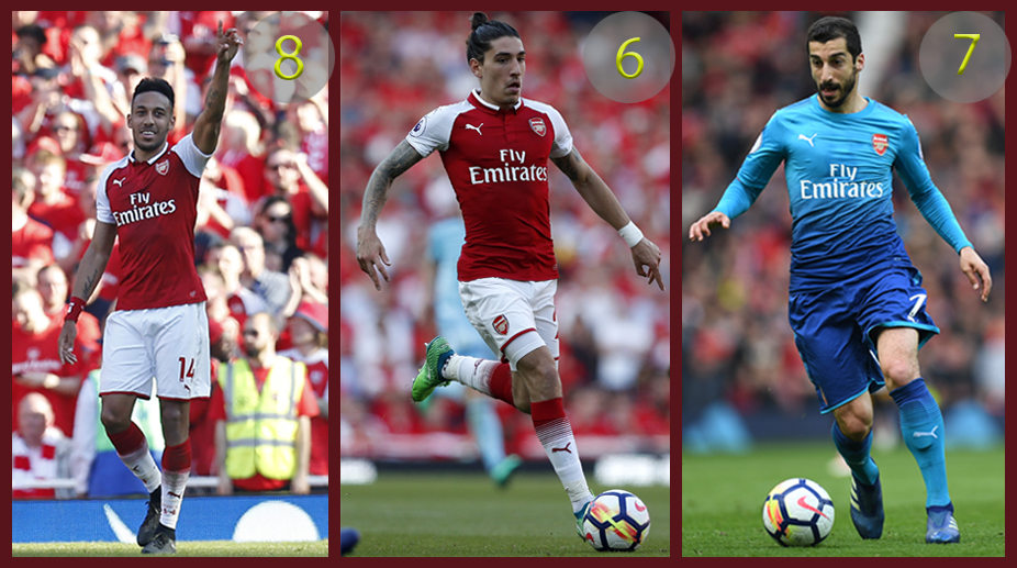 Pierre-Emerick Aubameyang, Hector Bellerin, Henrikh Mkhitaryan, Arsenal F.C., Premier League, UEFA Europa League, Player Report Card, 2017-18 season