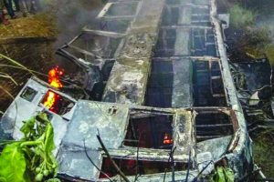 Delhi-bound bus catches fire in Bihar, 27 die