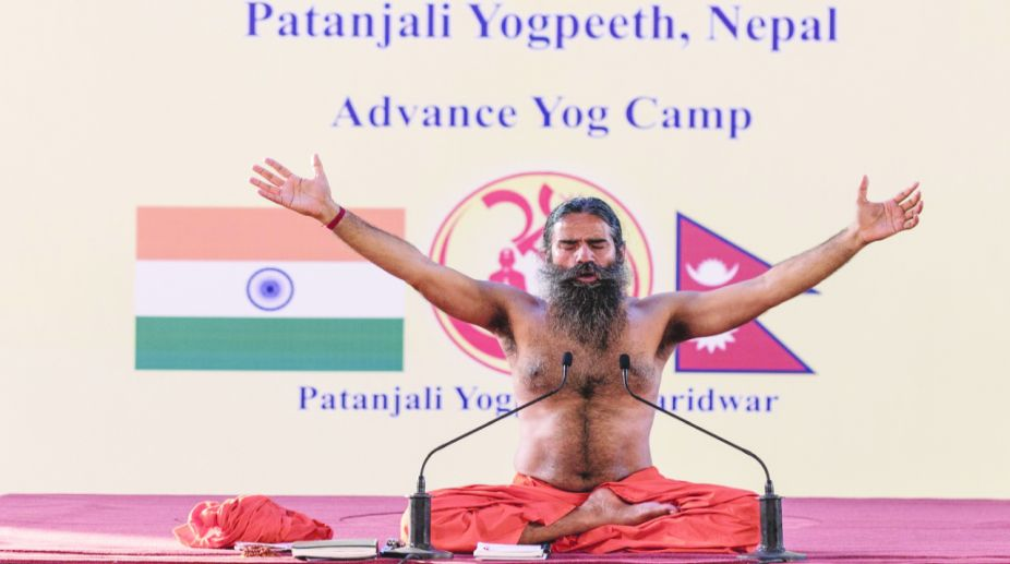 Baba Ramdev Conducting Yoga Session For Participants From Nepal In Haridwar On 1 May