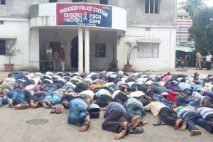Cargill workers protest in front of Paradip police station