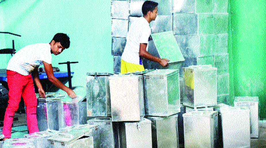 Ballot boxes ready to be sent to polling booths in North 24 Parganas. On Saturday. (Photo: Souvik Das)