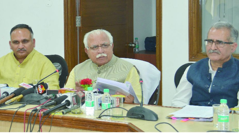 Haryana Chief Minister Manohar Lal Khattar addressing a Press conference at Chandigarh on Wednesday.(Photo: SNS)