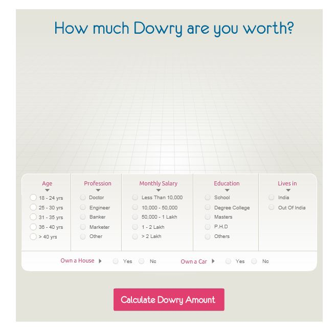 Dowry calculator