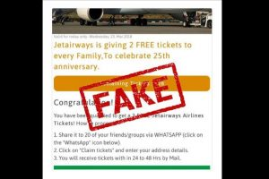 Viral message offering free Jet Airways tickets fake, airline advises caution