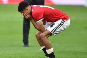 Manchester United winger Jesse Lingard reacts to FA Cup final loss