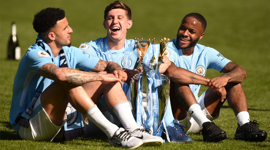 Manchester City F.C., Premier League, John Stones, Kyle Walker, Raheem Sterling, Premier League Trophy