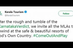 Kerala Tourism invites Karnataka MLAs to cool-off in Gods Own Country, deletes tweet later