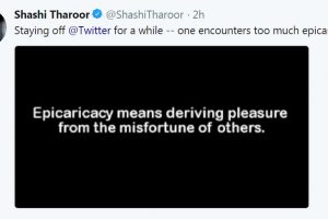 'Epicaricacy' forces Shashi Tharoor to take Twitter break