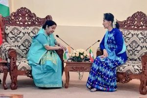 Sushma Swaraj meets Myanmar State Counsellor Suu Kyi