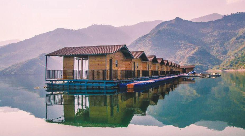 Floating huts on Tehri lake